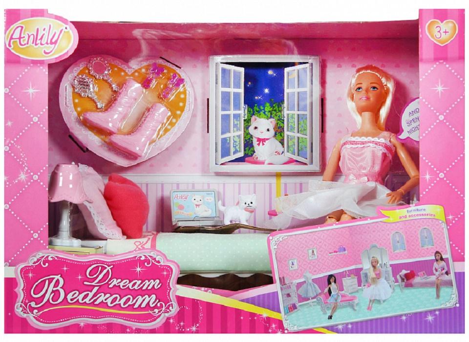 Игровой набор с куклой No Name 200170486 с мебелью и аксессуарами