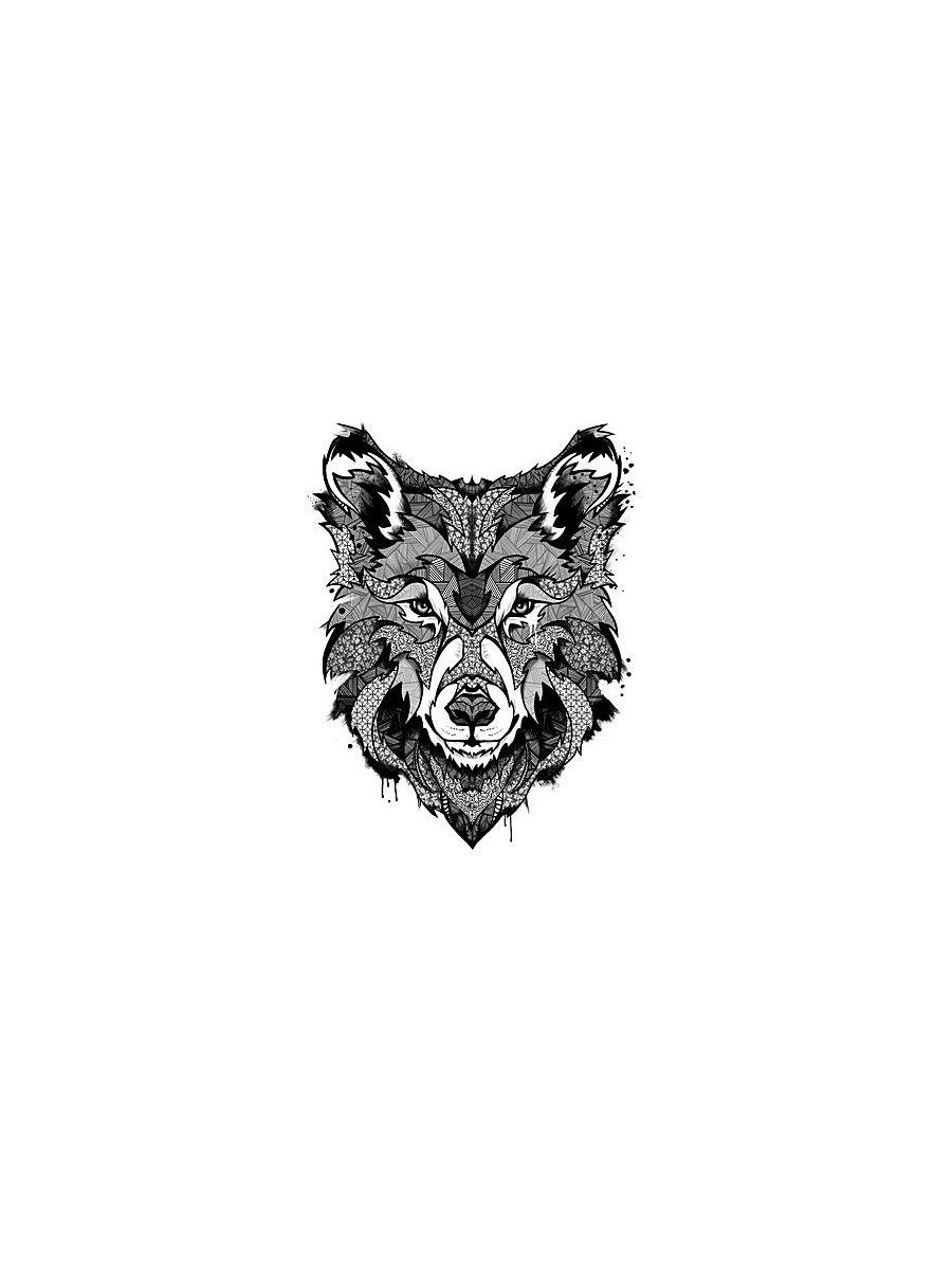 """Переводное тату МнеТату """"Пестрый волк"""""""