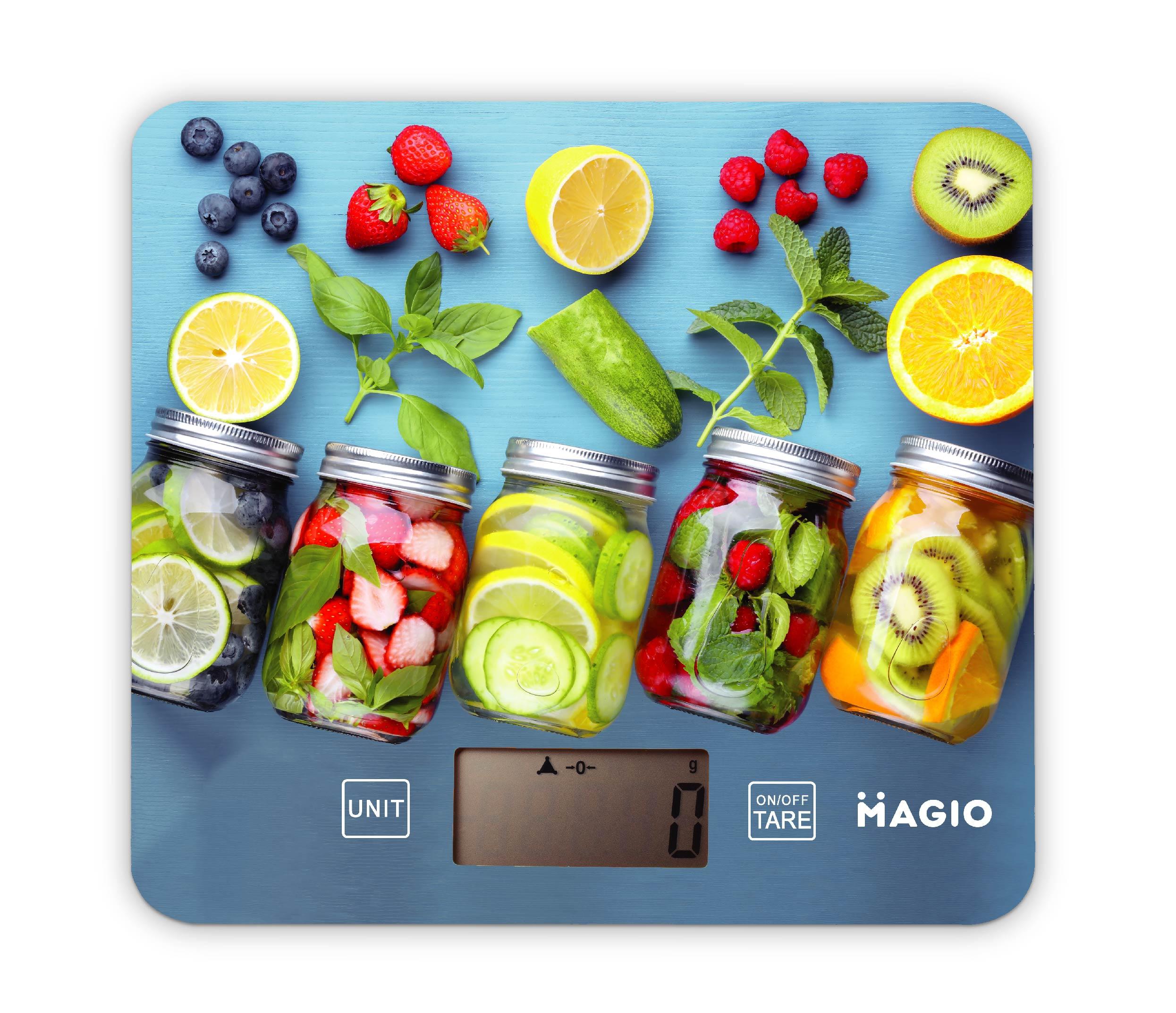 Кухонные весы Magio 3D принт, МG-796, голубой