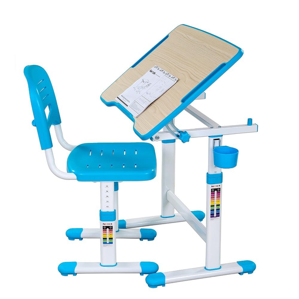 Набор детской мебели FunDesk Piccolino II Blue, голубой, белый212115Комплект растущей мебели: парта и стулПарта: 664 x 474 x 540-760ммСтул: 345 х 365 х 300-440ммРазмер столешницы: 664 x 474ммТолщина столешницы: 15ммВысота подъема парты: 540-760ммВысота подъема стула: 300-440ммСтолешница: Е1 МДФ с меламиновым покрытием + экологически чистый полипропиленНожки: металлокаркасСтул: экологически чистый полипропилен и металлокаркасРегулировка высоты парты и парты: многоступенчатая механическаяУгол наклона столешницы: 0-40°Механизм угла наклона: роликовый фиксаторАнтибликовая поверхность партыДизайн без острых угловРекомендуемый возраст от 3 до 10 летПредназначена для детей ростом 110-170 смВ комплекте:1. Подстаканник2. Крючок для портфеля
