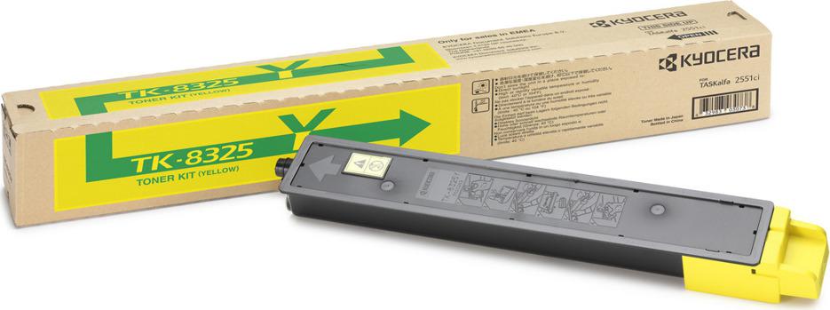Картридж Kyocera TK-8325Y, желтый, для лазерного принтера картридж kyocera tk 8325k black для taskalfa 2551ci 18000стр