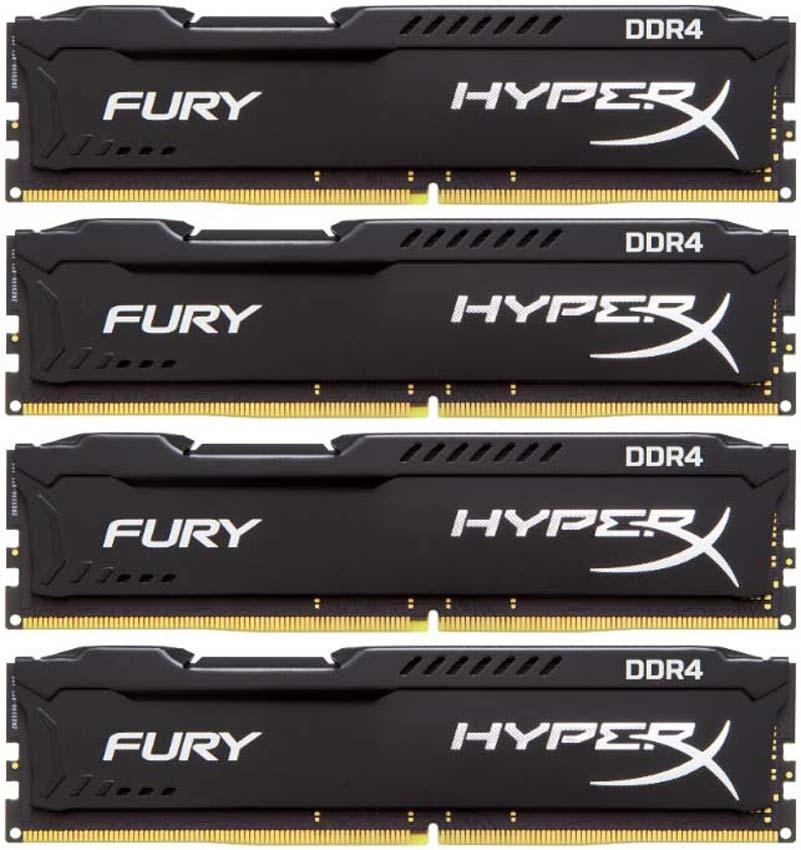 Комплект модулей оперативной памяти Kingston HyperX Fury DDR4 DIMM, 16GB (4х4GB), 2666MHz, CL15, HX426C15FBK4/16, black