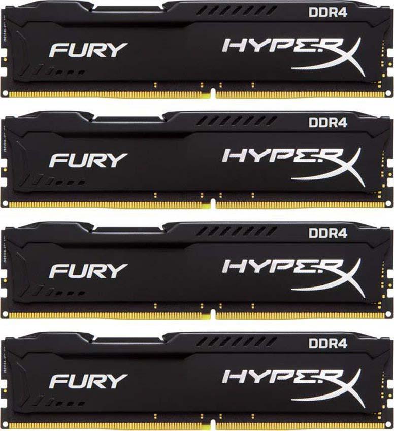 Комплект модулей оперативной памяти Kingston HyperX Fury DDR4 DIMM, 64GB (4х16GB), 2933MHz, CL17, HX429C17FBK4/64, black