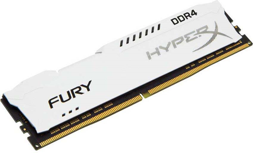 Модуль оперативной памяти Kingston HyperX Fury DDR4 DIMM, 8GB, 2666MHz, CL16, HX426C16FW2/8, white модуль памяти dimm 8gb ddr4 pc21300 2666mhz kingston hyperx fury white cl16 hx426c16fw2 8