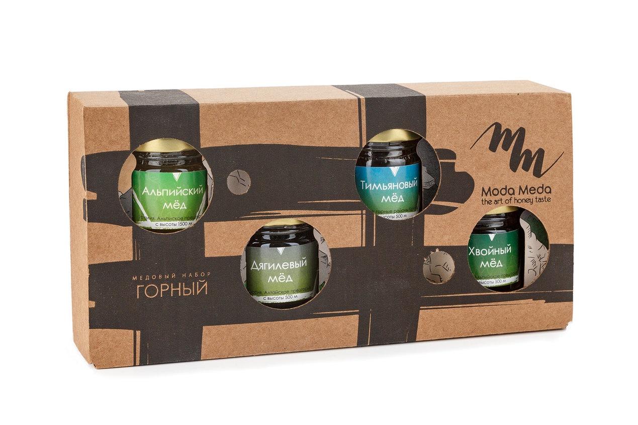 Мед Moda Meda Набор Горный мёд, 4 сорта горных медов берестов мед горный 500 г