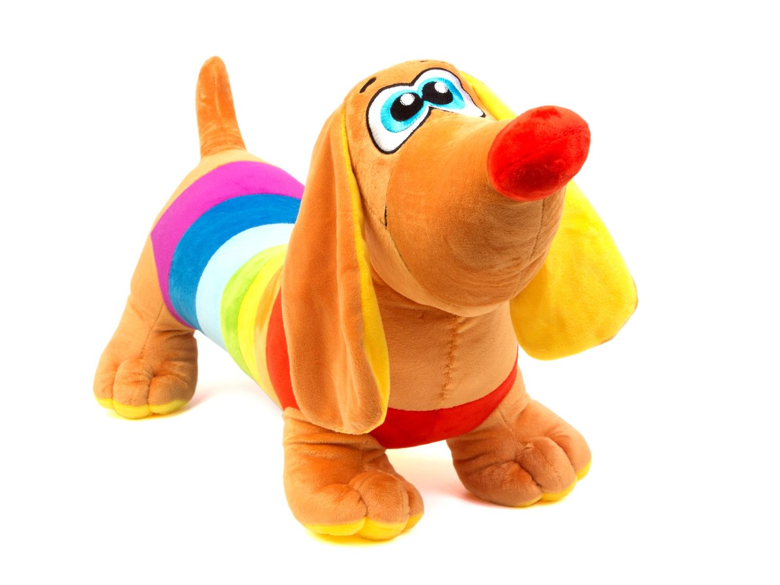 Мягкая игрушка СмолТойс Такса Радужная длина 70 см бежевый
