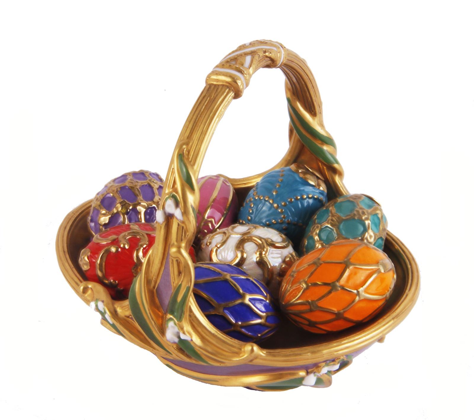 Композиция Весенняя корзина с яйцами. Фарфор, роспись, House of Faberge, 90-е гг. ХХ века тарелка ландыши фарфор деколь house of faberge 90 е гг хх века