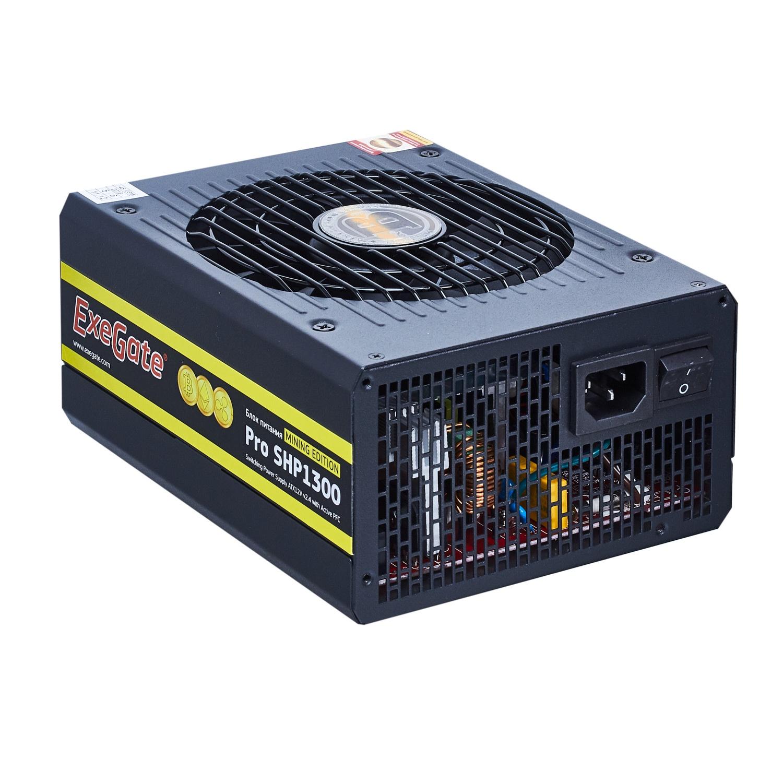 Блок питания 1300W Exegate Pro SHP1300 mining, КПД 88, ATX, black, APFC, 14cm, 2 PCI-E