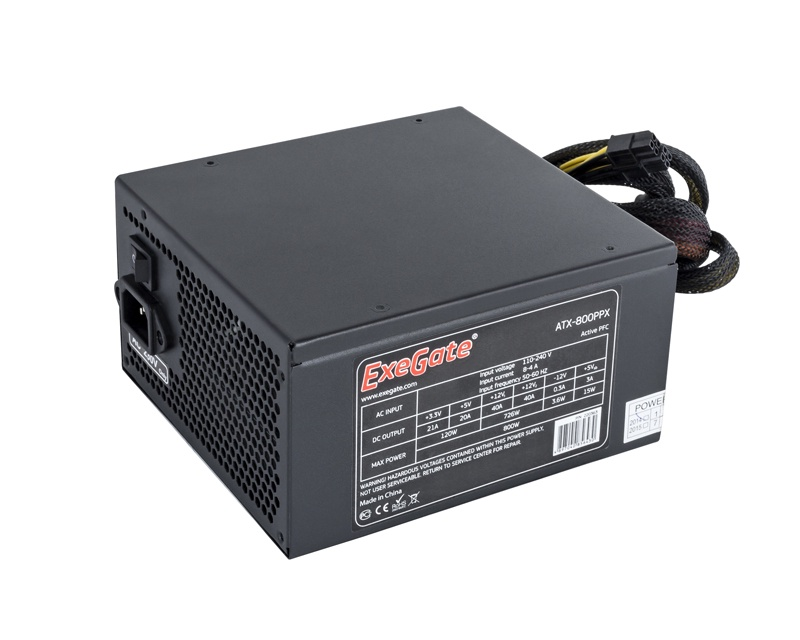Блок питания 800W Exegate 800PPX RTL, ATX, black, APFC, 14cm, PCI-E, 4 IDE, 5 SATA, FDD блок питания atx 650 вт exegate uns650 es261571rus