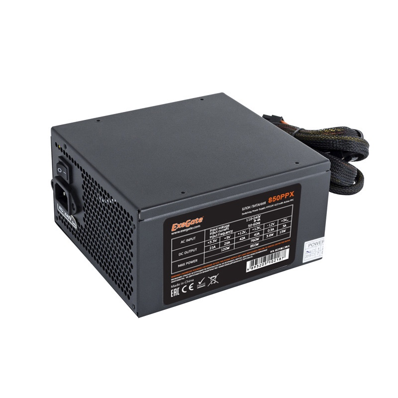 Блок питания 850W Exegate 850PPX RTL, ATX, black, APFC, 14cm, PCI-E, 4 IDE, 5 SATA, FDD