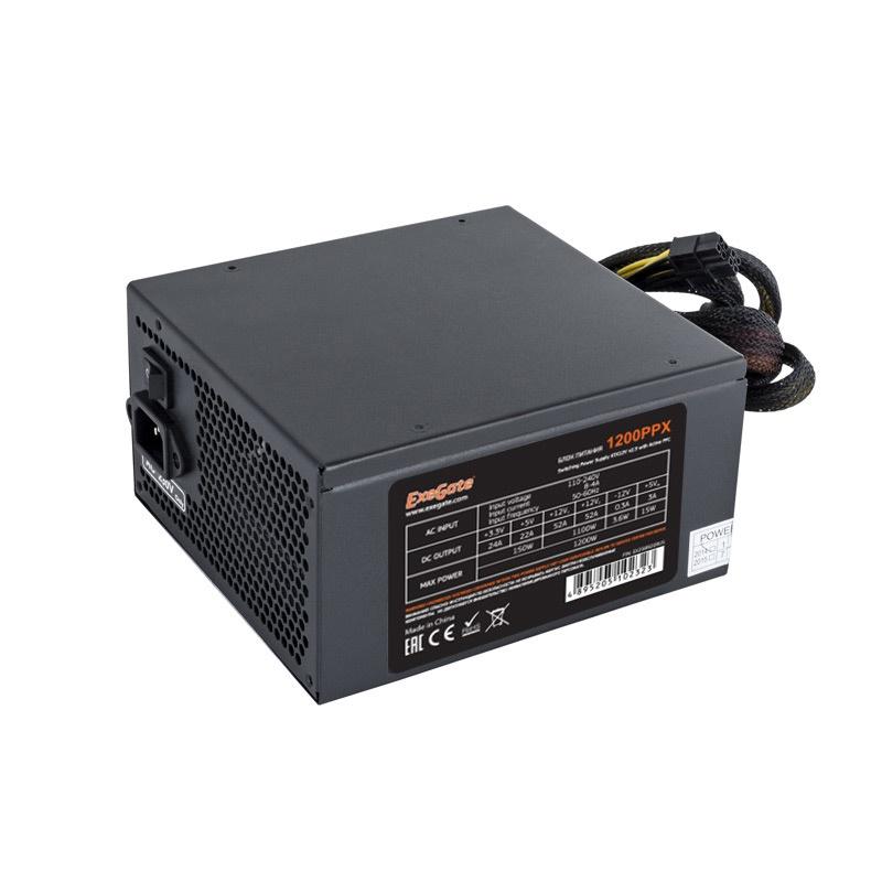 Блок питания 1200W Exegate 1200PPX RTL, ATX, black, active PFC, 14cm, PCI-E, 5 SATA, 4 IDE