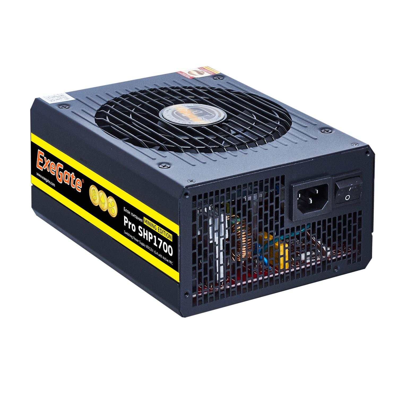 Блок питания 1700W Exegate Pro SHP1700 mining, КПД 88, ATX, black, APFC, 14cm, 2 PCI-E
