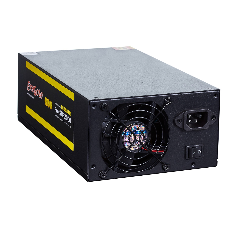 Блок питания 2000W Exegate Pro SHP2000 mining, КПД 88, ATX, black, APFC, 8cm, 2 PCI-E блок питания atx 650 вт exegate uns650 es261571rus