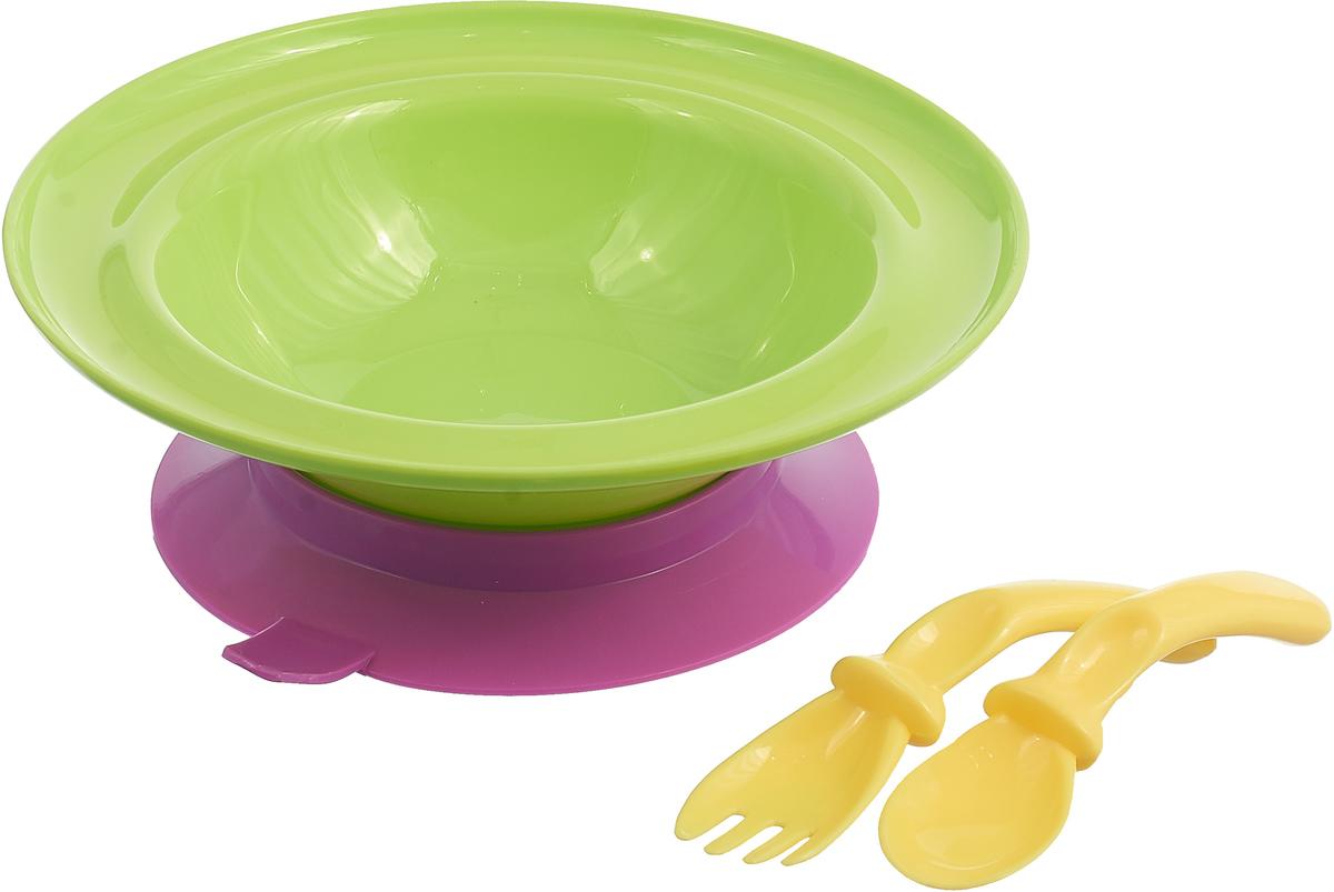 Набор посуды для кормления Lubby, 3 предмета, салатовый, фиолетовый lubby набор посуды для кормления 3 предмета цвет оранжевый