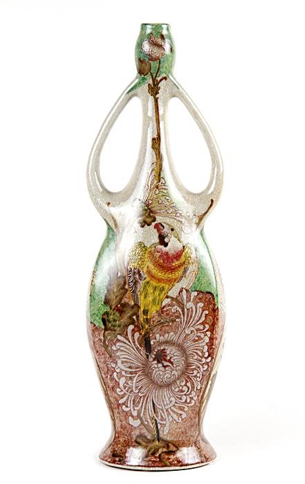 Ваза антикварная Аник Хобби Ваза Попугай, ОС9027, бежевый, зеленый, желтый, оранжевый, сиреневый, кремовый ваза nina glass грейси цвет оранжевый высота 19 см