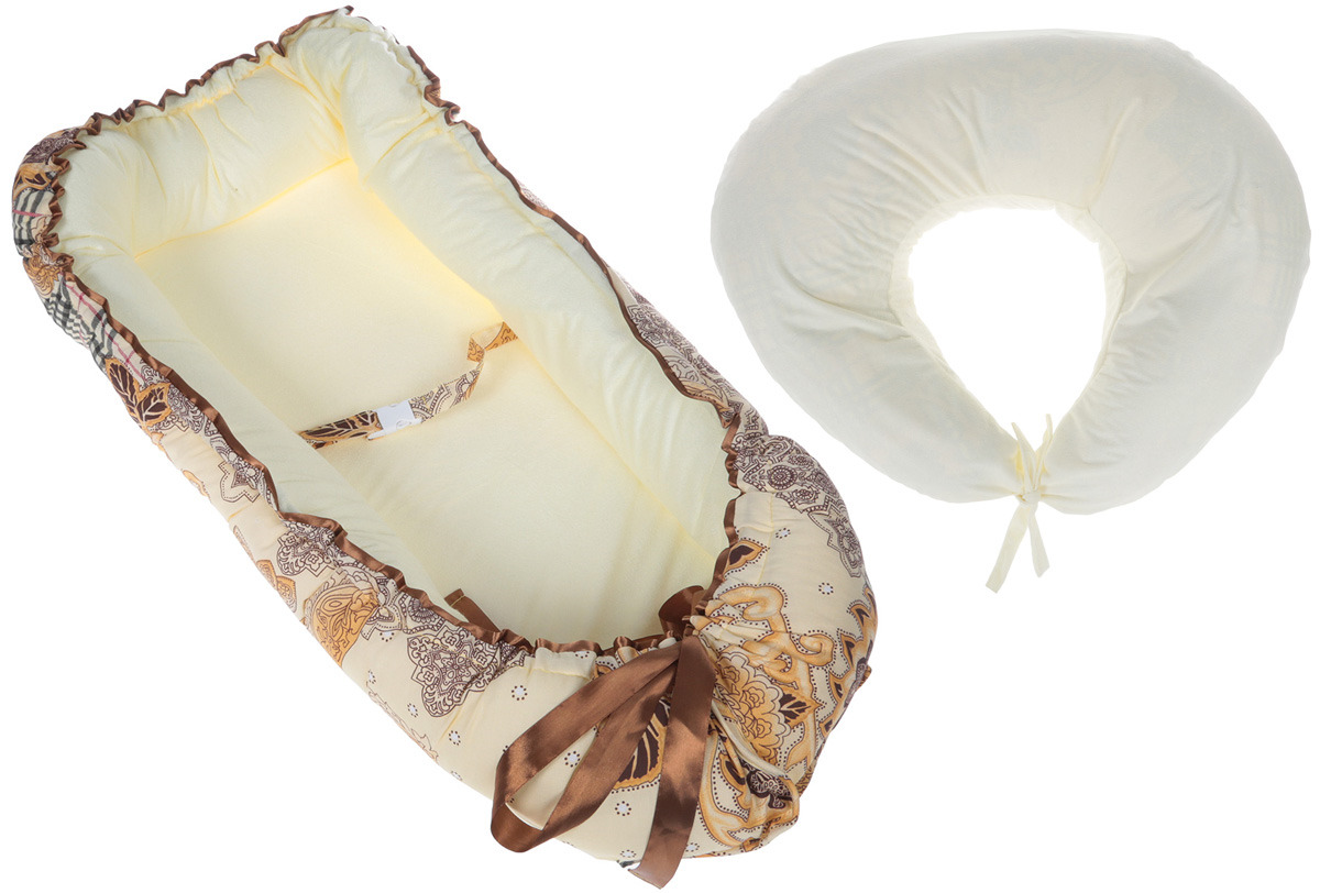 Набор Пелигрин подушка для беременных + чехол для подушки + гнездышко-кокон, НММЖ, желтый крема для беременных купить