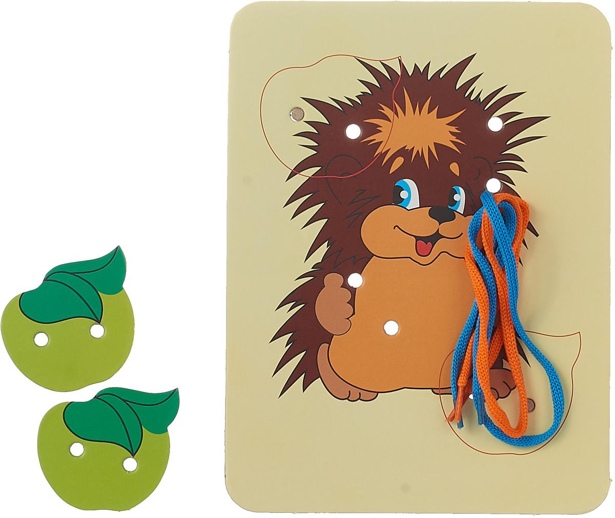 Шнуровка-раскраска Ракета Ежик и 2 яблока, 4622032016598, синий, оранжевый раскраска ежик