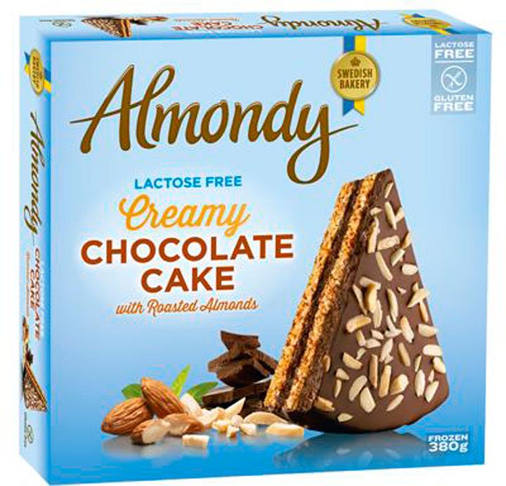 Безлактозный шоколадный торт (ТМ Almondy) с жареным миндалем БЕЗ ГЛЮТЕНА 380г*12