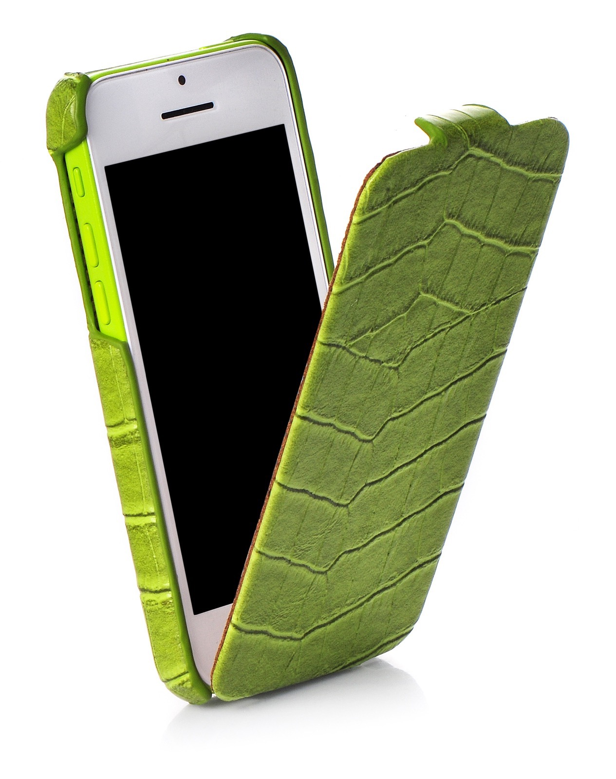 Чехол для сотового телефона Kuchi книжка крокодил ORIGINAL для Apple iPhone 5/5C/5S/SE, зеленый