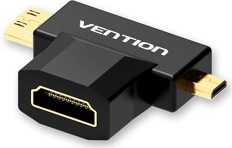 Переходник Vention HDMI 19F/Mini HDMI + Micro HDMI , AGDB0, черный переходник vention hdmi 19f mini hdmi micro hdmi agdb0