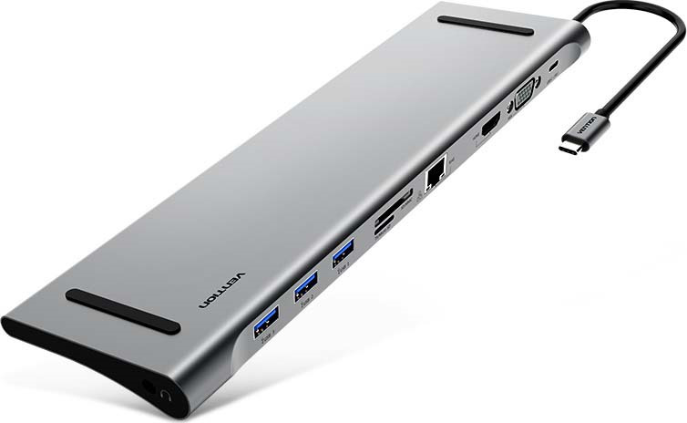Мультифункциональная док-станция Vention USB Type C 10 в 1, CMCHB, серый металлик цены онлайн