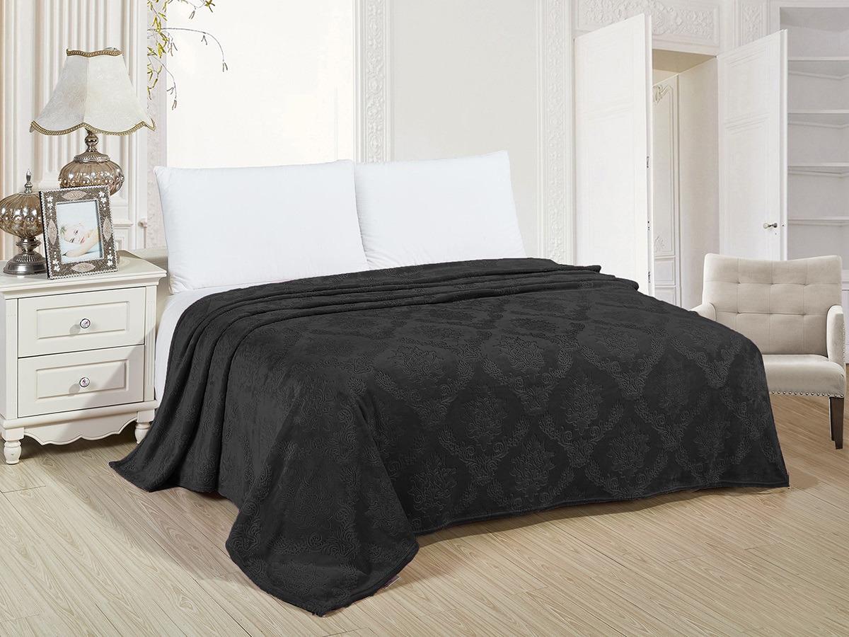 Плед Cleo Парма Вензель, 150/167-OP, черный, 150 х 200 см цена