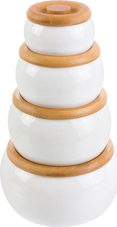Банка для сыпучих продуктов Elan Gallery Айсберг, с крышкой, круглая, 540246, белый, коричневый, 2 предмета