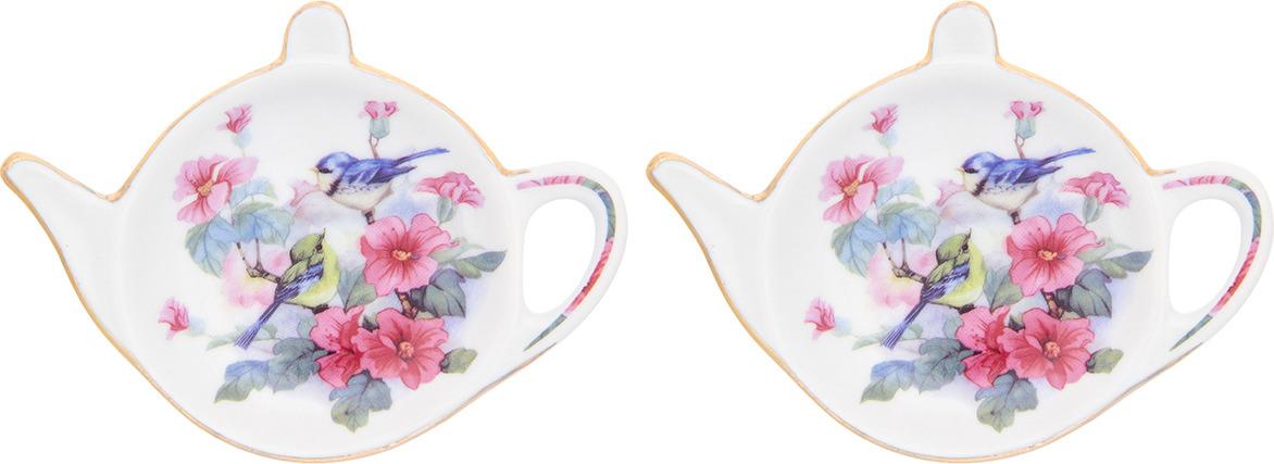 Подставка для чайных пакетиков Elan Gallery Синички в цветах, 181098_2, мультиколор, 11 х 7 х 1,5 см, 2 шт