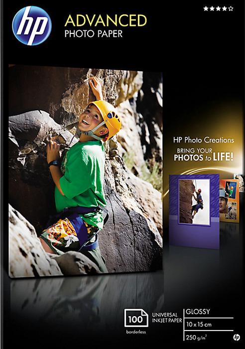 Фотобумага HP Q8692A глянцевая, 10 х 15 см, 250 г/м2, 100 листов