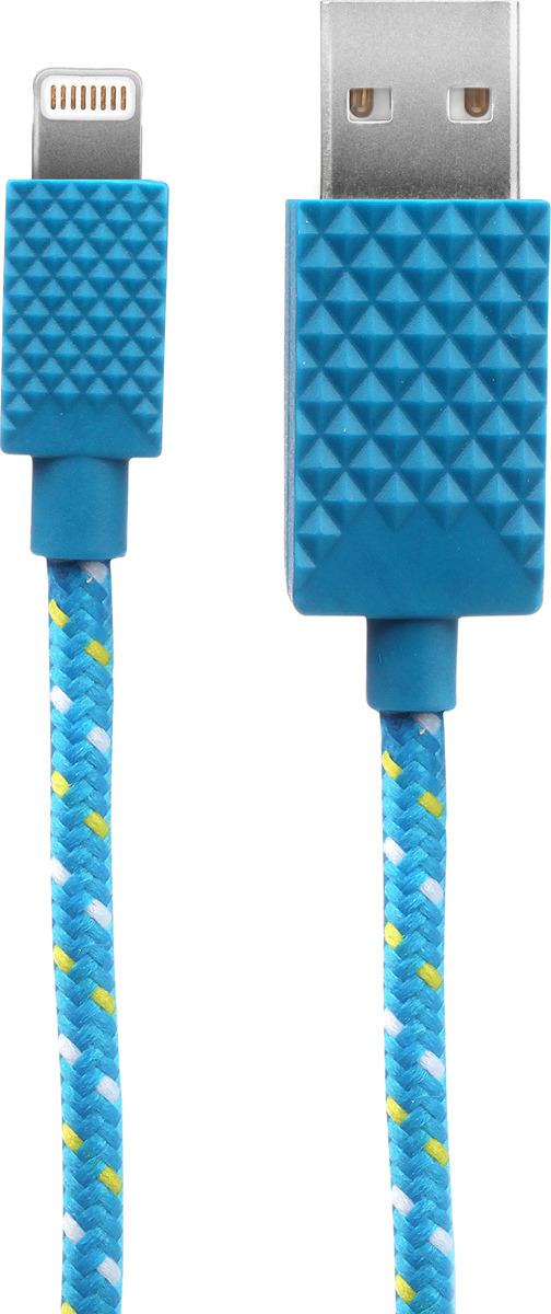 Кабель Qumo, MFI С48, USB-Apple 8 pin, 5В, 2,4A, 12Вт, коннектор ABS, 2 м, AP300Rd2m, синий qumo mfi 8 pin 1м space gray 21714