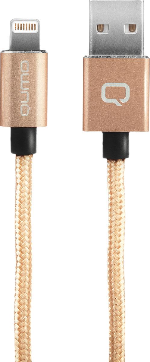 Кабель Qumo, MFI С48, USB-Apple 8 pin, 5В, 2,4A, 12Вт, металлический коннектор, 1,5 м, AP200GO1,5m, золотой qumo mfi 8 pin 1м space gray 21714