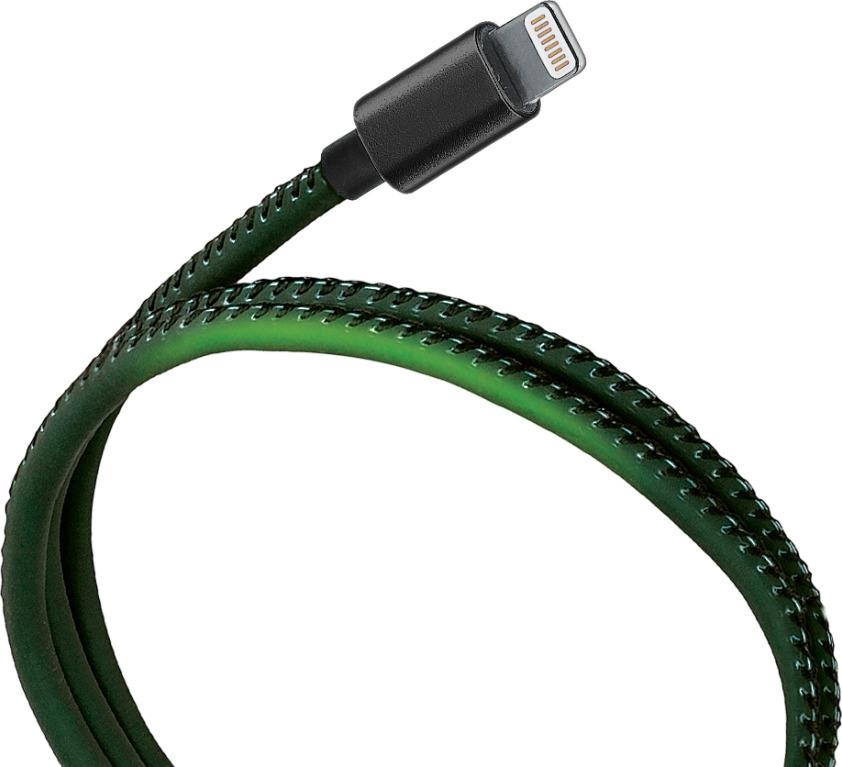 Кабель Qumo, USB-Apple 8 pin, USB 2,0, 5В, 2,1А, 10,5Вт, металлический коннектор, 1 м, APC300Blgr1m, разноцветный стоимость