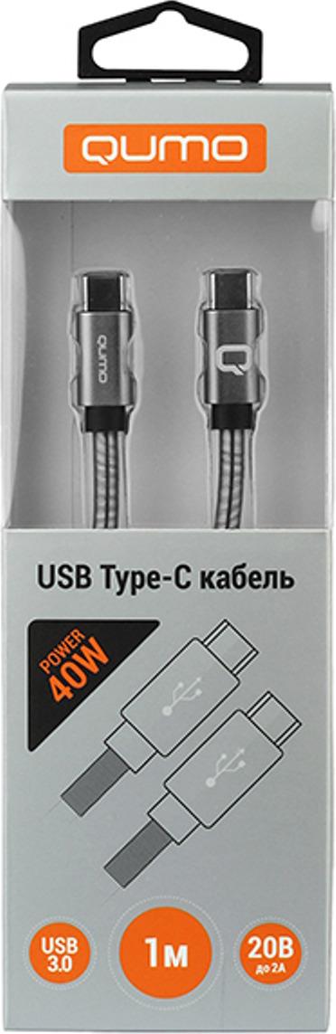 Кабель Qumo, Type С - Type C, 20В, 2А, 40 Вт, USB 3,0, коннектор PVC, 1 м, CC100WtU201m, черный кабель qumo type с type c 20в 2а 40 вт usb 2 0 коннектор pvc 1 м cc100wtu201m черный
