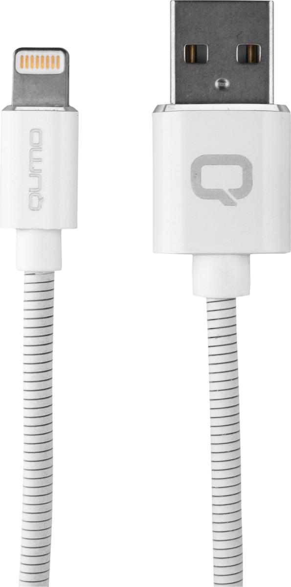 Кабель Qumo, MFI С48, USB-Apple 8 pin, 5В, 2,4А, 12Вт, металлический коннектор, 1 м, AP500WH1m, белый