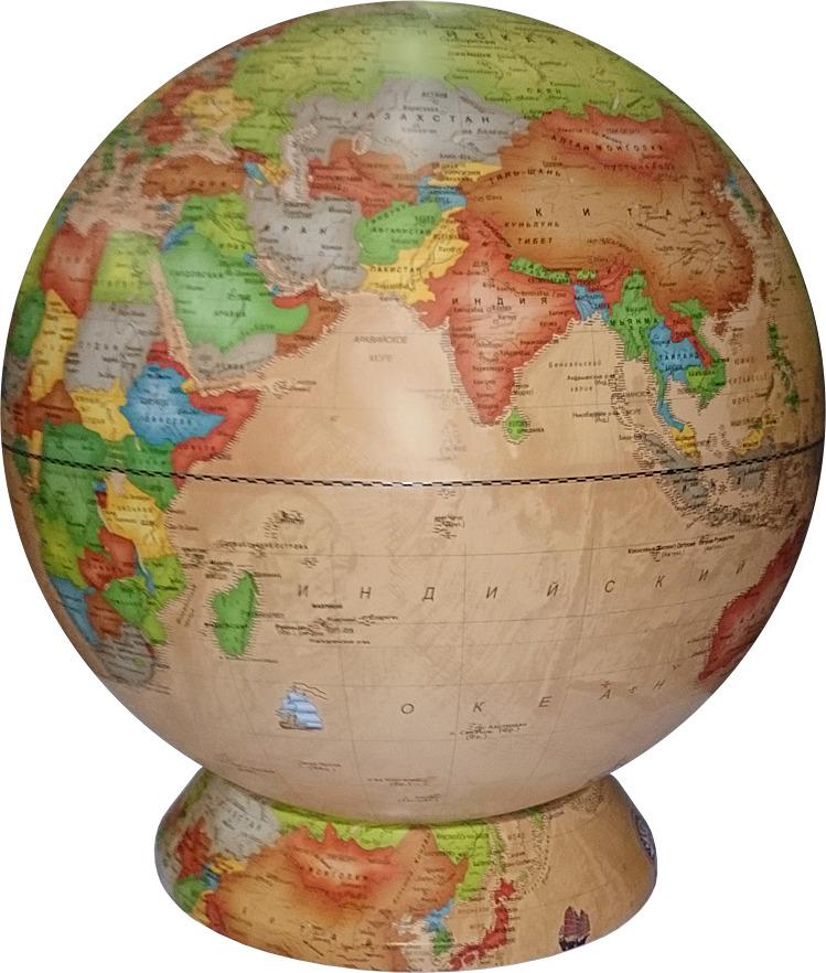 Глобус Глобусный мир Ретро-Александр, 10376, с политической картой мира, с подставкой, светло-коричневый, диаметр 42 см глобус глобусный мир 10406 с физической картой мира с подставкой синий диаметр 64 см