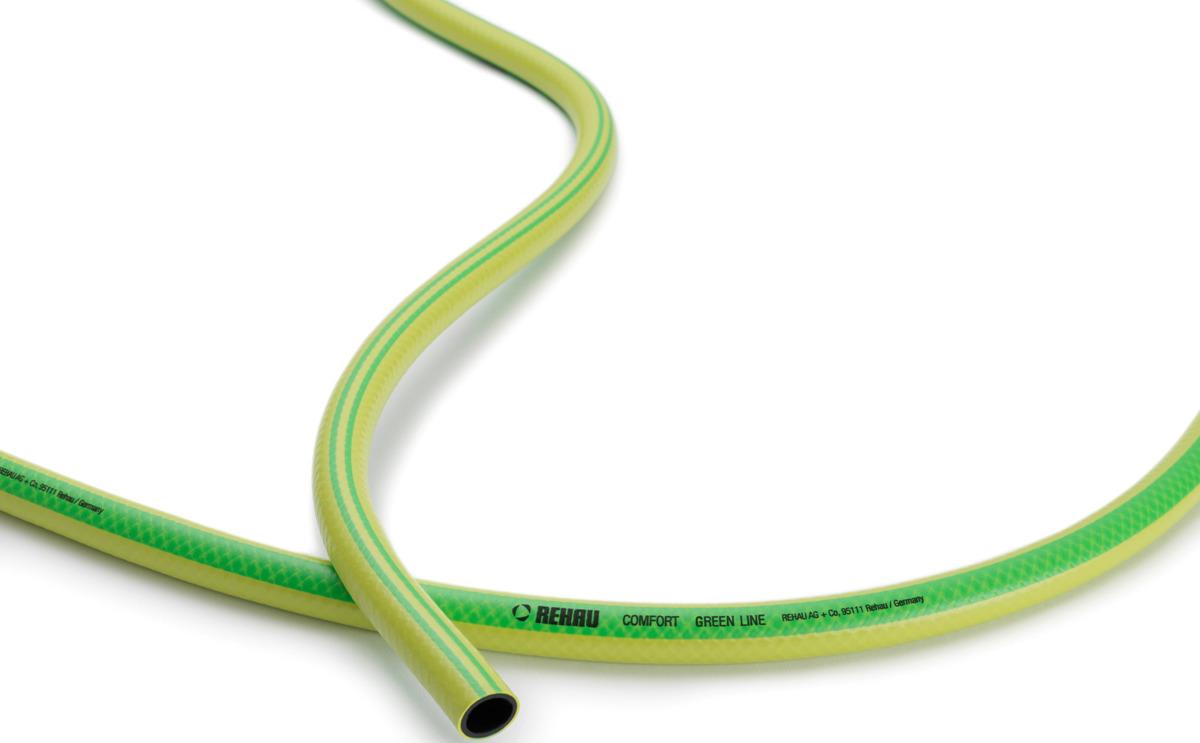 все цены на Шланг поливочный Rehau Комфорт Green Line, 10090741600, желтый, зеленый, 13 мм (1/2