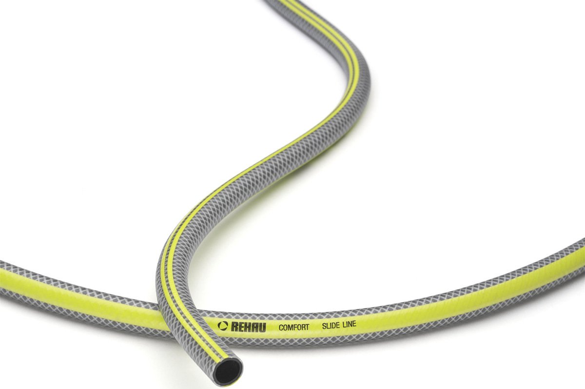 Шланг поливочный Rehau Комфорт Slide Line, 10976161600, серый, желтый, 13 мм (1/2), 50 м