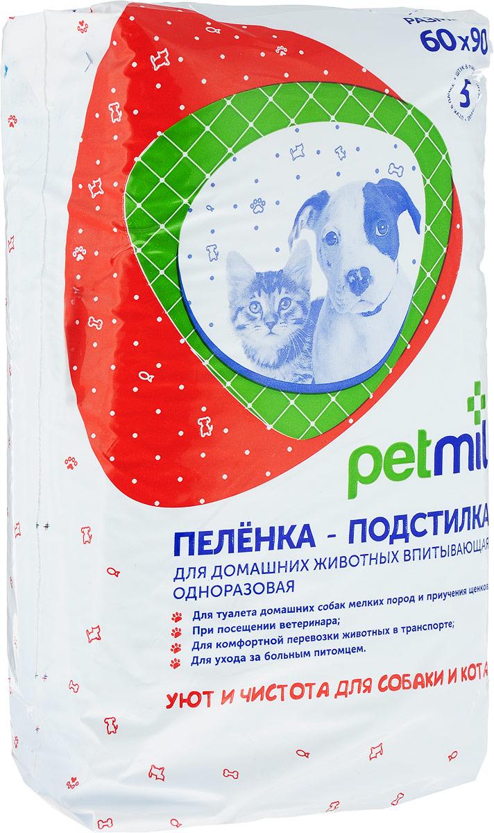 """Пеленка-подстилка для животных """"Petmil"""", впитывающая, одноразовая, 60 х 90 см, 5 штук"""