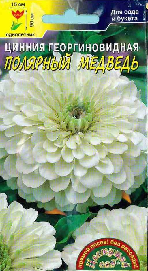 Семена Цветущий сад Цинния Полярный Медведь, 0,3 г семена цветущий сад цинния сиреневый туман 0 3 г