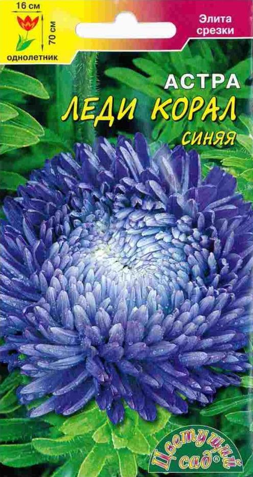 Семена Цветущий сад Астра Леди Корал Синяя, 0,1 г4607021807272Представляем серию астр с принципиально новой формой соцветия. Растение высотой до 70 см, формирует мощные стебли, которые венчают густомахровые соцветия, достигающие 16 см в диаметре. Астры данной серии идеальны для получения высококачественной срезки, т.к. соцветия очень плотные и не теряют декоративности от дождей. Собранные букеты долго не увядают в воде. Астры серии Леди Корал великолепны в групповых и одиночных посадках на газоне, а также для создания яркой притягательной клумбы и высокого бордюра. АГРОТЕХНИКА. Астры выращивают как рассадным способом, так и прямым посевом семян в грунт в конце апреля-начале мая или под зиму (конец октября-начало ноября). Семена высевают на поверхности почвы, слегка присыпав легким грунтом, накрывают пленкой. Для более раннего цветения астры выращивают рассадным способом, так чтобы возраст растений при высадке в грунт составлял 30-35 дней. в период вегетации проводят подкормки комплексными минеральными удобрениями с преобладанием азота.