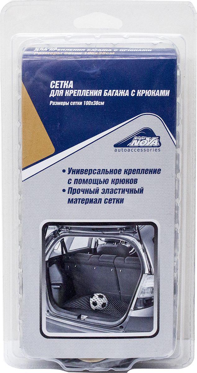 Сетка багажная Nova Bright, черный, 38 х 100 см резинка багажная мастерпроф с крючками цвет в ассортименте 0 6 х 80 см ас 020051