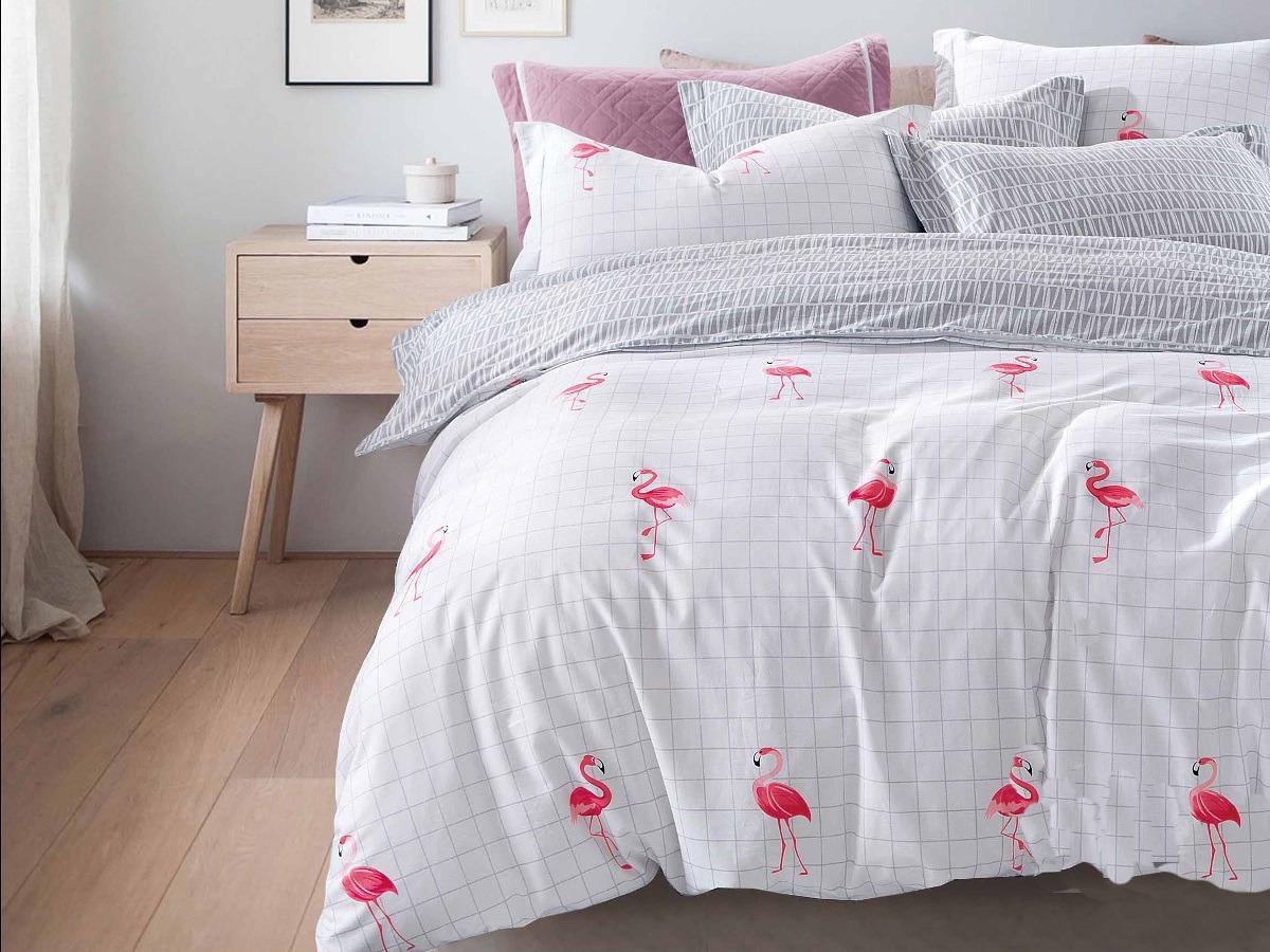 Комплект постельного белья Cleo Satin lux Фламинго 31/343-SL, белый, серый, евро, наволочки 50х70, 70х70 постельное белье cleo satin lux 15 299 sl комплект 1 5 спальный сатин