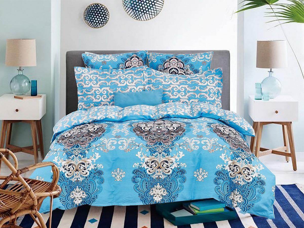 """Комплект постельного белья Cleo Satin lux """"Топаз"""" 41/322-SL, голубой, бежевый, семейный, наволочки 50х70, 70х70"""