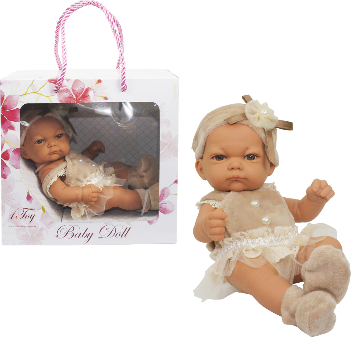 Пупс 1TOY Premium Baby Doll 25 см, Т15458, в бежевом платьице, пинетках и шапочке с бантиком