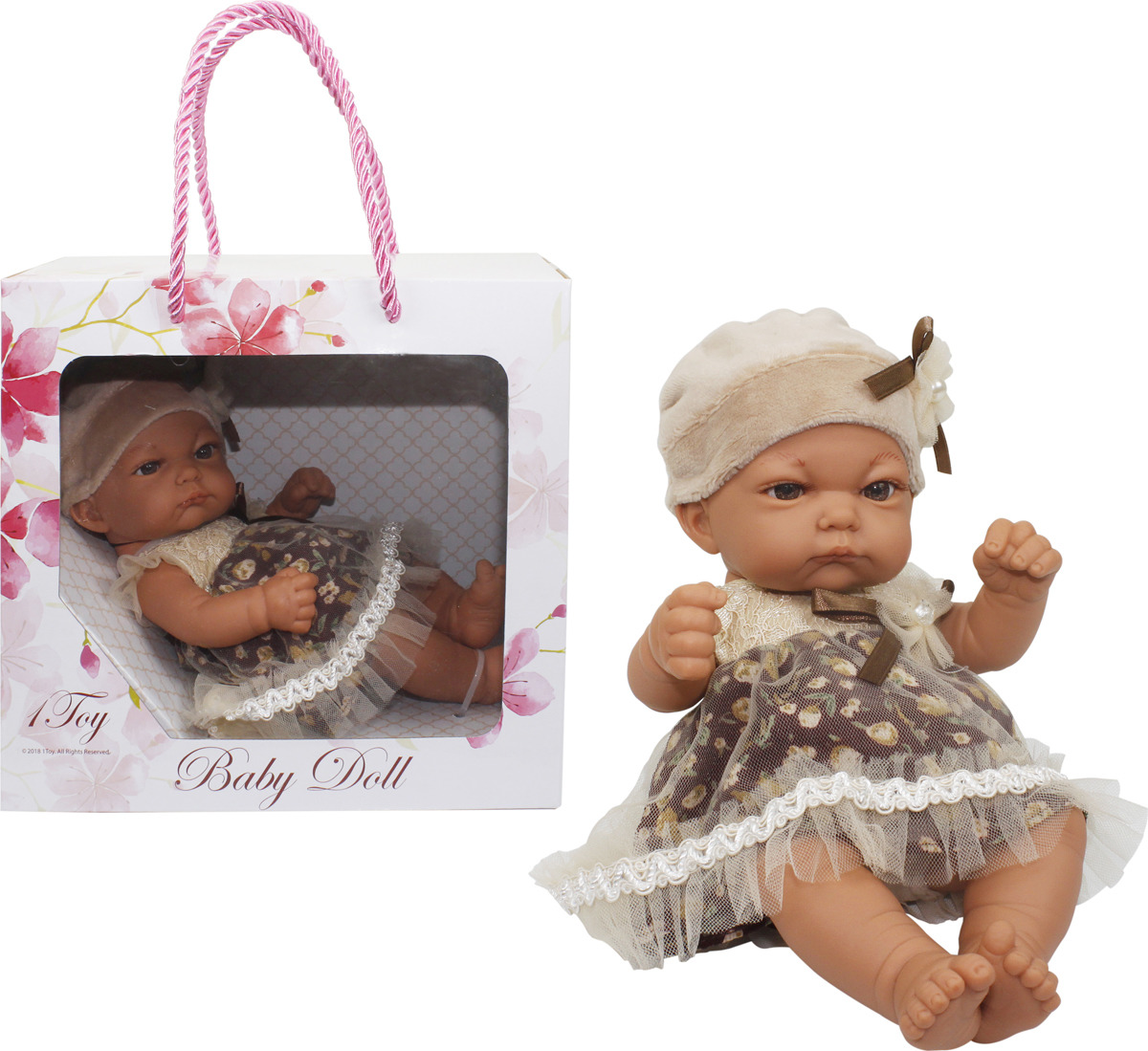 Пупс 1TOY Premium Baby Doll 25 см, Т15459, в нарядном платьице и шапочке
