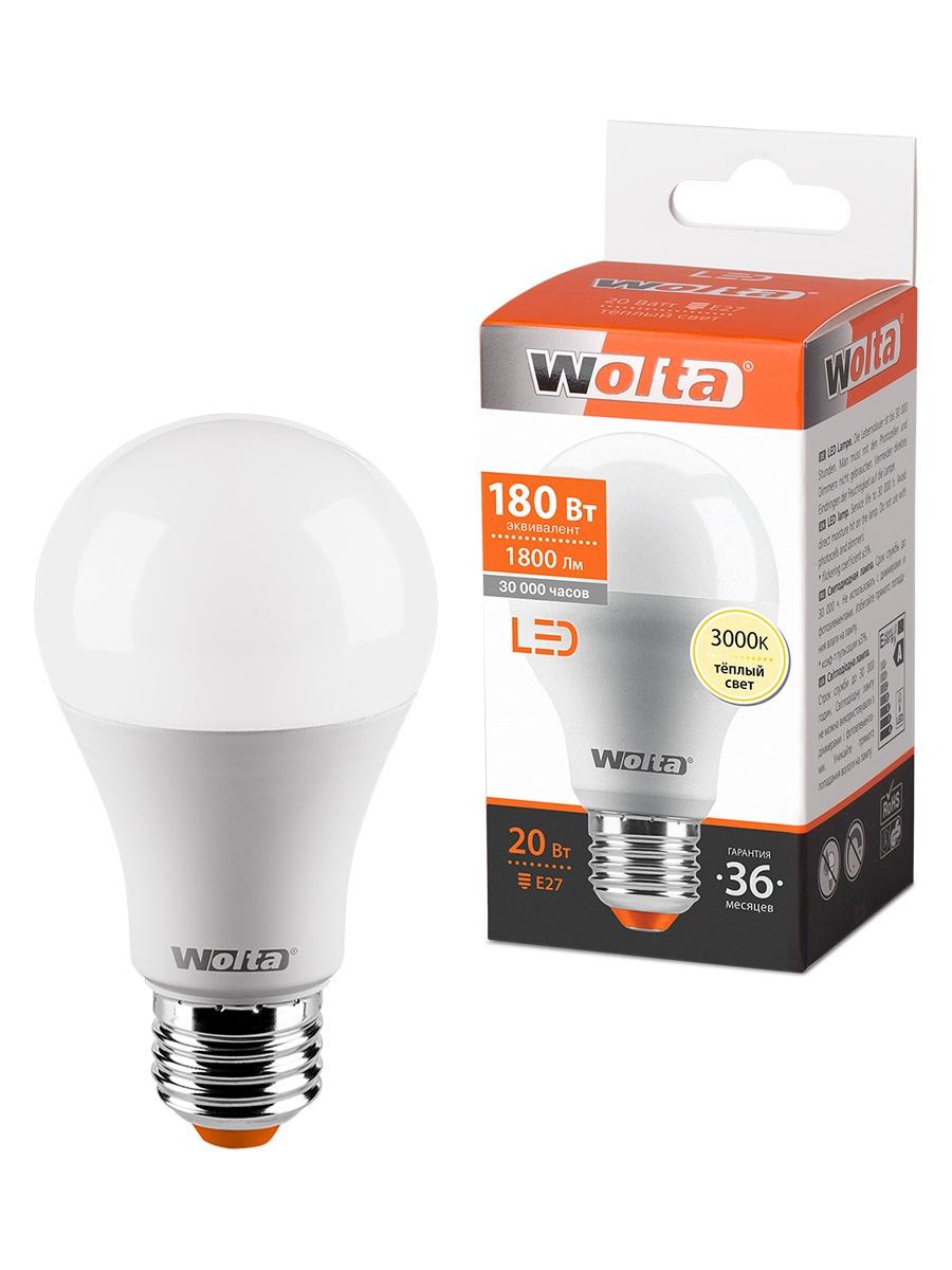 лампочка ecola classic led premium 20w a65 220 240v e27 6500k d7rd20elc Лампочка WOLTA 25Y65BL20E27, 20W, E27, Теплый