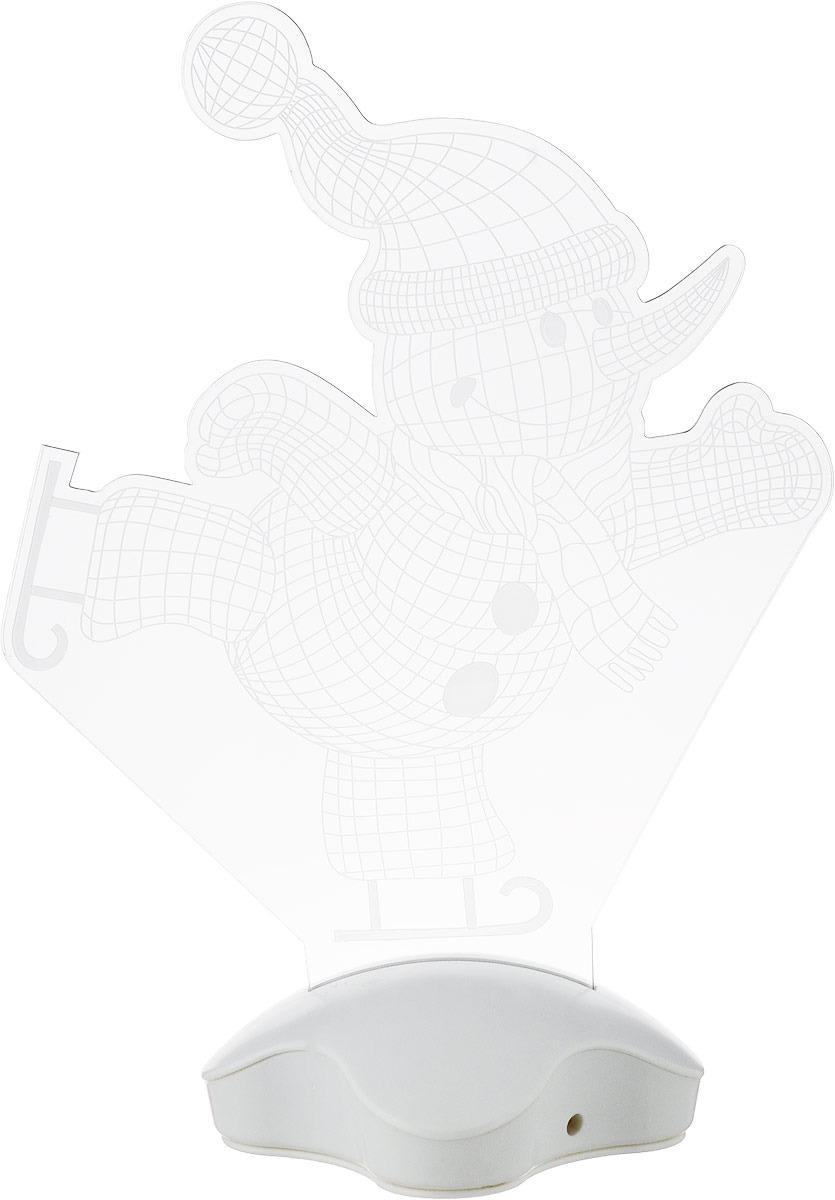 цена на Подставка световая Luazon Lighting Снеговик на коньках, 7 LED, 25 х 18.5 см
