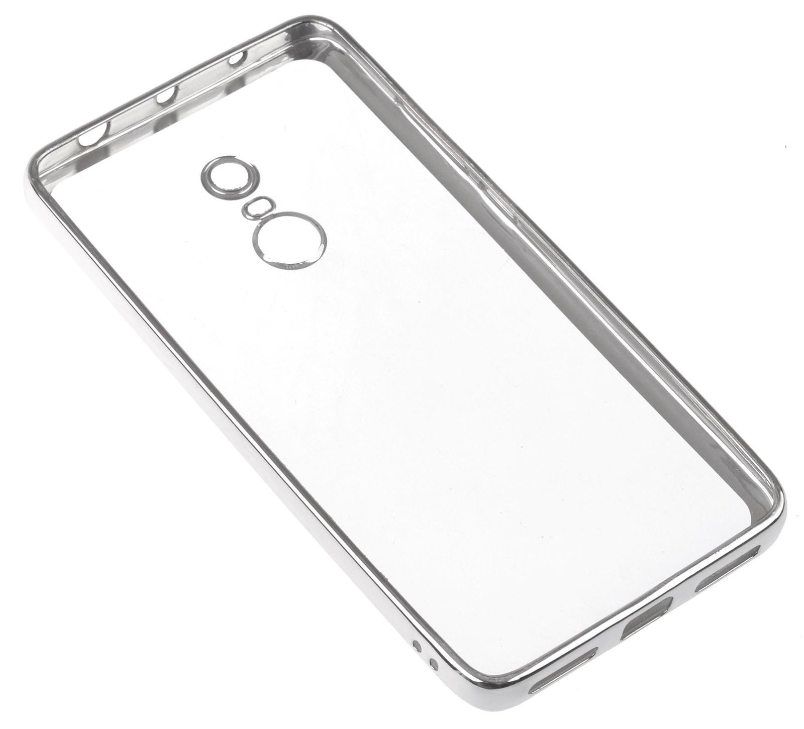 Чехол для сотового телефона skinBOX Silicone chrome border, 4630042520899, серебристый чехол для сотового телефона skinbox silicone chrome border 4630042524514 серебристый