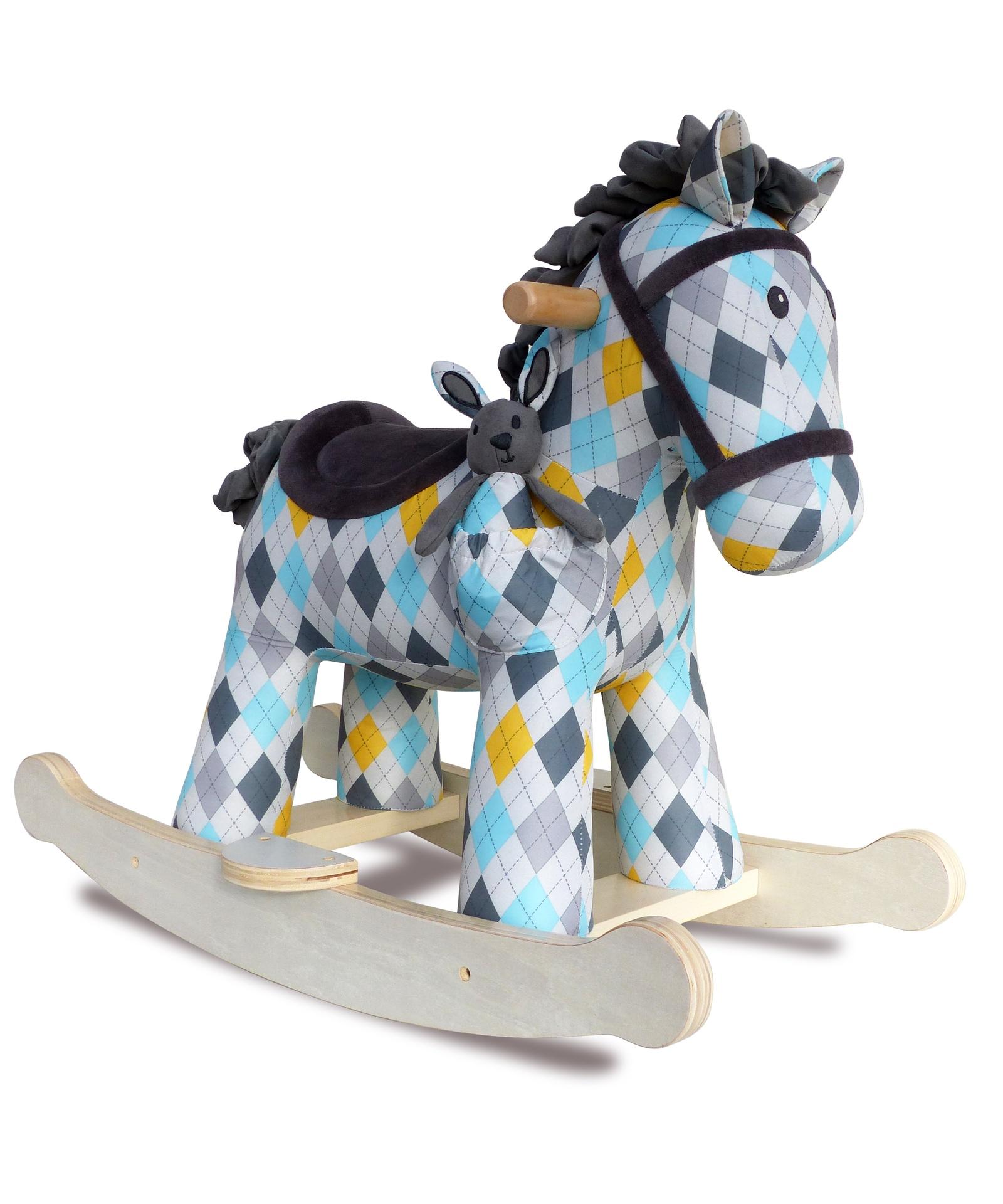 Качалка Little Bird Told Me лошадка детская LB3057 синий, желтый, белый