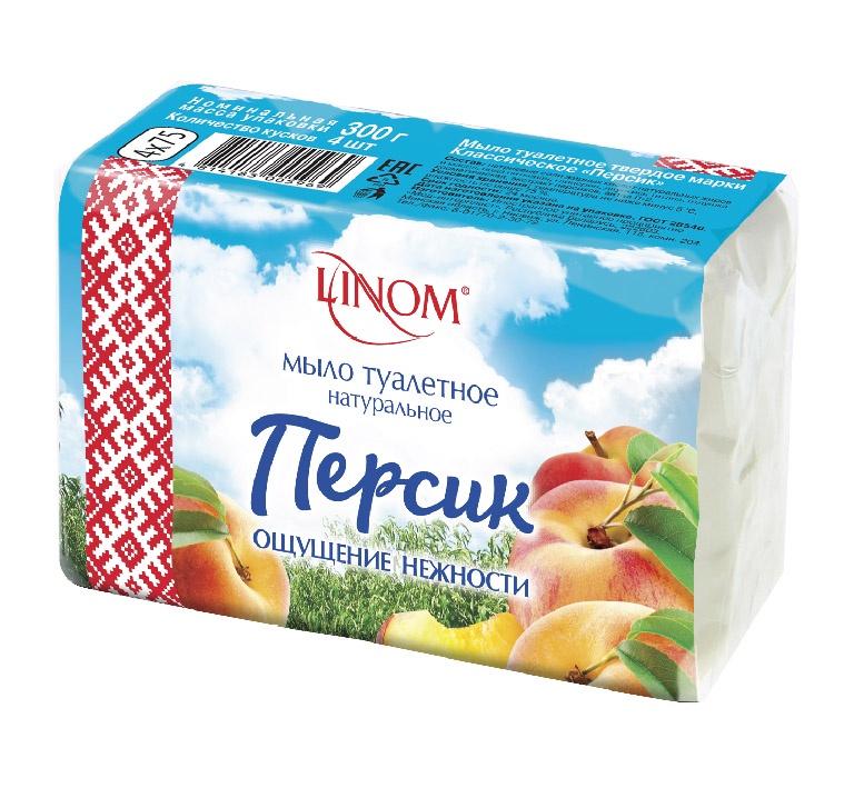 Мыло туалетное LINOM Персик. Классическое. Натуральное. 300 грамм(4х75).RBT121NНатуральное классическое мыло «Персик» - содержит экстракт персика, который восстанавливает упругость, омолаживает и придает тонус уставшей коже.В наборе 4 кусочка душистого мыла, что очень выгодно в качестве покупки, как для большой семьи так и для индивидуального постоянного использования.Восхитительный аромат персика радует обоняние, поднимает настроение, вызывает в сознании приятные ассоциации. Именно такое вдохновляющее благоухание наполняет мыло туалетное Классическое «Персик» «LINOM». Пользоваться этим очищающим средством не только приятно, но и полезно. Оно хорошо омолаживает эпидермис, поскольку эффективно восстанавливает его упругость, тонизирует, способствует активной регенерации.Мыло хорошо пенится, отлично очищает эпидермис от разного рода загрязнений, скоплений себума и ороговевших клеток, легко смывается, оставляя после себя приятную гладкость и восхитительную свежесть. Оно обладает успокаивающим и противовоспалительным свойствами, благодаря которым хорошо предотвращает аллергический процесс, покраснения и раздражения.«LINOM» – белорусский бренд твердого мыла, сделанного по традиционным, классическим технологиям мыловарения из натуральных ингредиентов.Основными критериями выбора продукции «LINOM» являются натуральность и доступная цена.